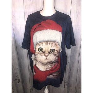 SANTA CAT Tie Tyed Christmas T-Shirt Graphic Tee L